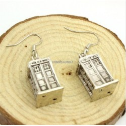 Ancient Silver Tardis Doctor Who earrings