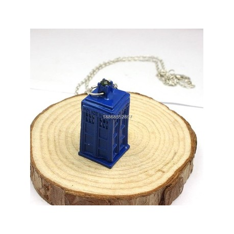Blue TARDIS necklace