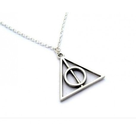 Harry Potter Deathly Hallows Silver Metal Rotating Necklace