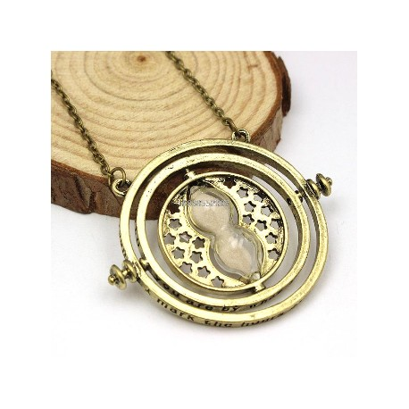 Hermione Rotating Time Turner Gold Necklace