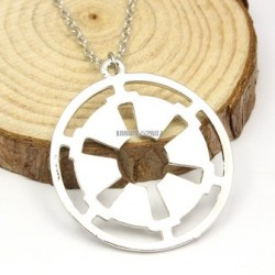 Licensed Star Wars Empire Symbol Chrome Clad Pendant With Necklace