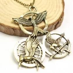 Hunger Games Mockingjay necklace with Triple Medallions