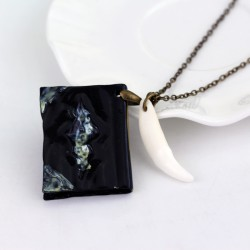 Harry Potter Basilisk Fang and Tom Riddle Diary Pendant Necklace (Black Enamel)